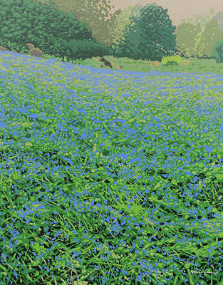Bluebell Hill Print by Malcolm Warrilow