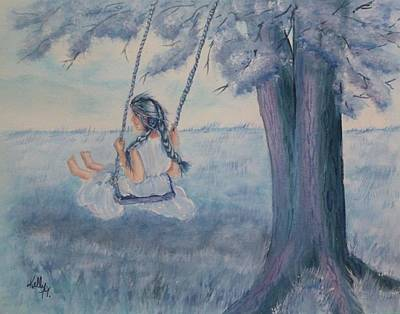 Child Swinging Painting - Blueberry Swing by Kelly Mills