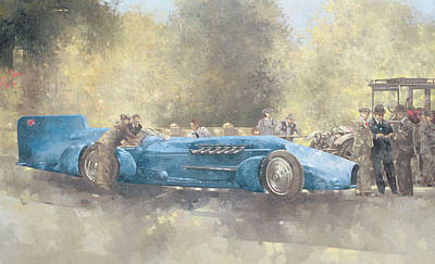 Motor Racing Painting - Bluebird And Ghost by Peter Miller