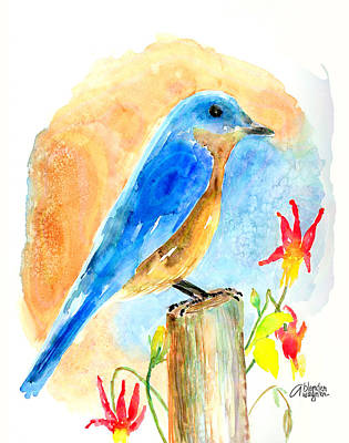 Bluebird Painting - Bluebird On A Post by Arline Wagner