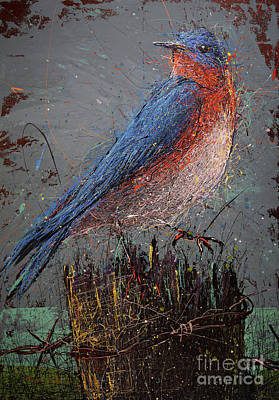 Splashy Art Painting - Bluebird On Fence Post by Michael Glass