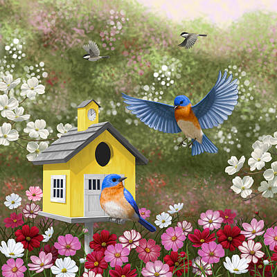 Bluebird Painting - Bluebirds And Yellow Birdhouse by Crista Forest
