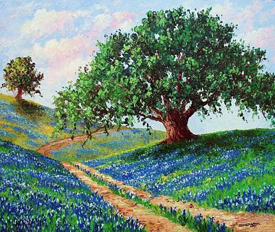 Oak Trees Painting - Bluebonnet Road by David G Paul