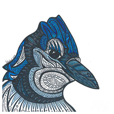 Bluejay Drawing - Bluejay Bird by Allie Rowland