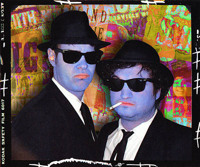 Painted Face Mixed Media - Blues Brothers Gold by Tony Rubino