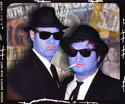 Painted Face Mixed Media - Blues Brothers Sepia by Tony Rubino