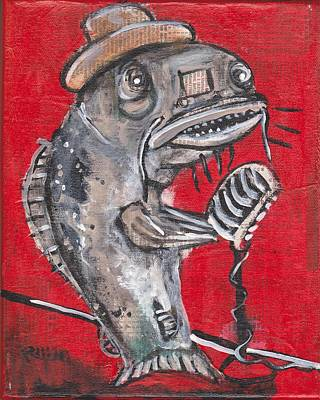 Folk Art Mixed Media - Blues Cat Singer by Robert Wolverton Jr