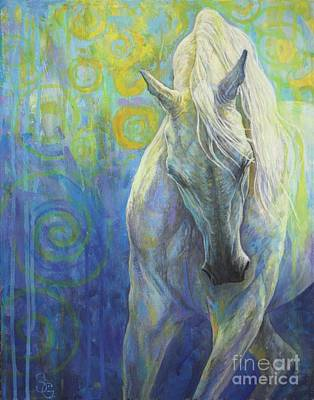 Dressage Painting - Blues Fighter by Silvana Gabudean