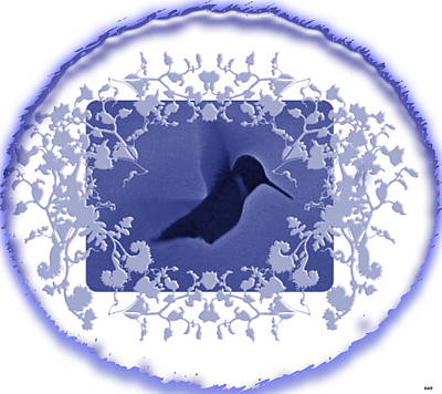 The View Mixed Media - Blues Hummingbird Trim  by Debra     Vatalaro