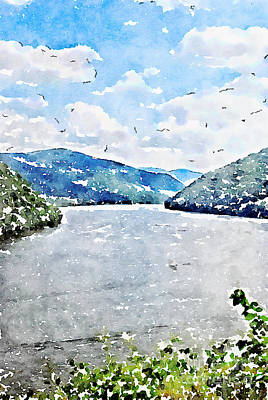 Nature Photograph - Bluestone Lake - Digital Watercolor by Kerri Farley