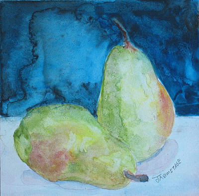 Pears Mixed Media - Blushing Pears by Jenny Armitage