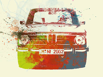 Bmw 2002 Front Watercolor 2 Print by Naxart Studio