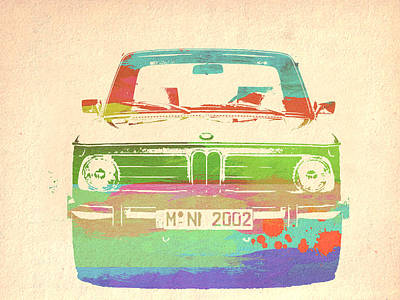 German Classic Cars Photograph - Bmw 2002 Front Watercolor 3 by Naxart Studio