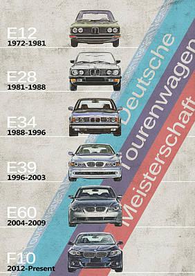 Bmw 5 Series - Bmw M5 - Generations - Bmw M5 Timeline Print by Yurdaer Bes