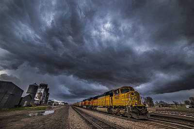 Train Tracks Photograph - Bnsf Storm by Darren  White