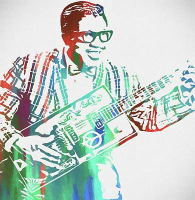 Elvis Presley Mixed Media - Bo Diddley Watercolor by Dan Sproul
