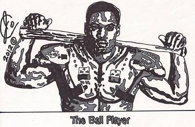 Football Art Drawing - Bo Jackson The Ball Player by Jeremiah Colley