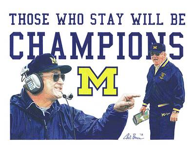 University Of Michigan Mixed Media - Bo Schembechler by Chris Brown