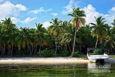 Photograph - Boat Anchored Near Bavaro Beach by Eyzen Medina