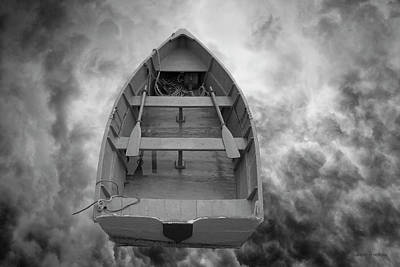 Oars Digital Art - Boat And Clouds by Dave Gordon