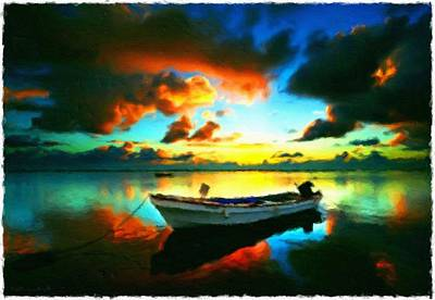 Abstract Oil Painting - Boat At Sunset - Impressionist Landscape Painting by Katrina Britt