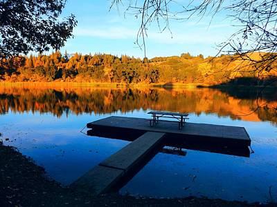 Boat Dock On Lafayette Reservoir Print by Heather S