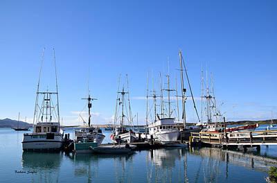 Salmon Painting - Boat Docks Of Morro Bay California by Barbara Snyder