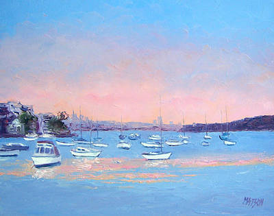 Motor Boats Painting - Boat Haven At Manly Cove by Jan Matson