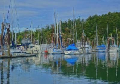Boat Mast Reflections Olympic Coast Print by Dan Sproul