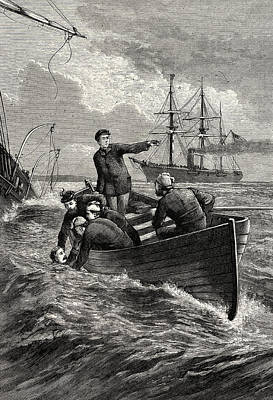Boat Of The Deerhound Rescuing Captain Semmes Print by American School