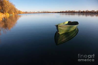 Oar Photograph - Boat On Lake by Nailia Schwarz