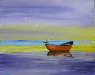 Boat With Seagulls Original by Judy Horan