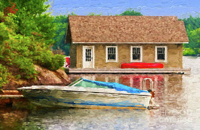 Cabin Photograph - Boathouse With Red Canoe - Painterly by Les Palenik