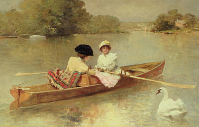 Waterfowl Painting - Boating On The Seine by Ferdinand Heilbuth