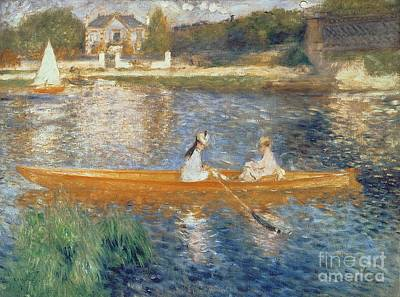 Water Reflections Painting - Boating On The Seine by Pierre Auguste Renoir