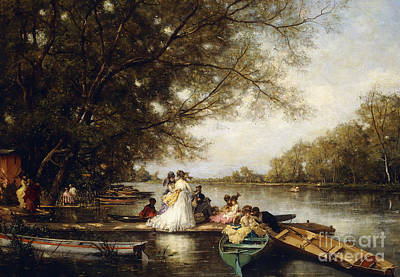 Boating Party On The Thames Print by Ferdinand Heilbuth