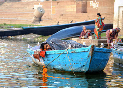 Cremation Ghat Photograph - Boatman by John And Laurel Rodgers