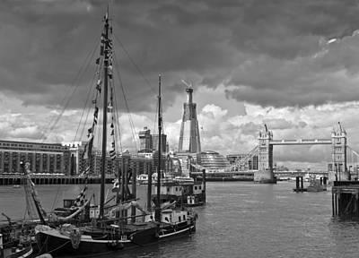 Boats And Shard And Tower Bridge Bw Print by Gary Eason