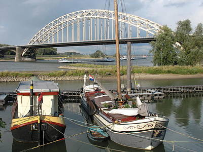 Boats And Waal Bridge At Nijmegen Print by Holland Scenery