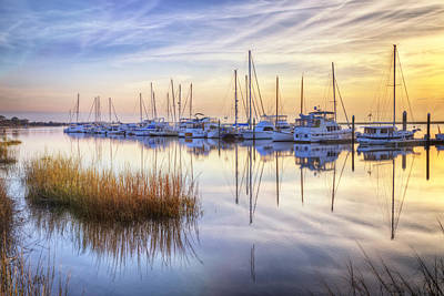 Boats At Calm Print by Debra and Dave Vanderlaan