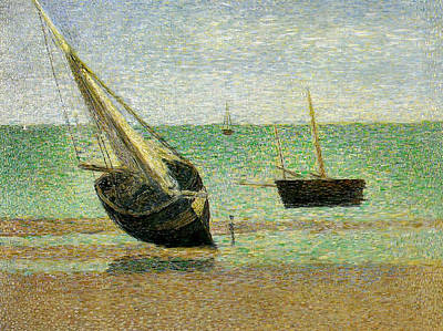 Sailing Ship On Ocean Painting - Boats At Grandcamp by Georges Pierre Seurat