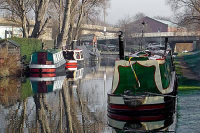 Boats At Horninglow Basin Print by Rod Johnson