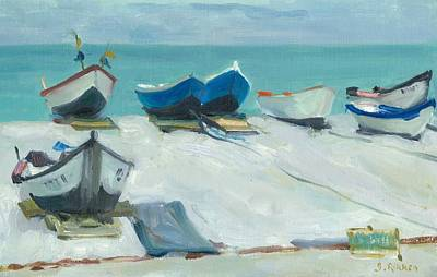 Fecamp Painting - Fishing Boats At Etretat by Ben Rikken