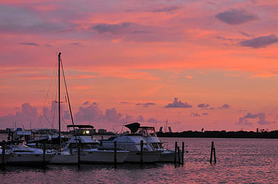 Boats At Sunset Print by Rose  Hill