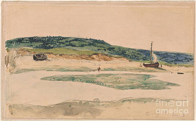 Boats At The Mouth Of A River At Low Print by Eugeene Delacroix