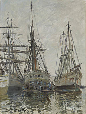 Fishing Painting - Boats In A Harbour by Celestial Images