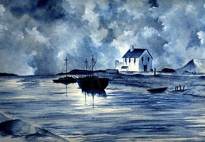 Boats In Blue Print by Michael Vigliotti