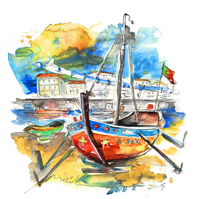 Travel Sketch Drawing - Boats In Tavira In Portugal 02 by Miki De Goodaboom