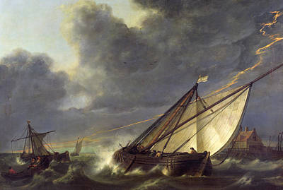 Boats In Water Painting - Boats In The Estuary Of Holland Diep In A Storm by Aelbert Cuyp