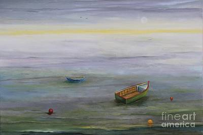 Puerto Rico Painting - Boats In The Silver Lake by Alicia Maury